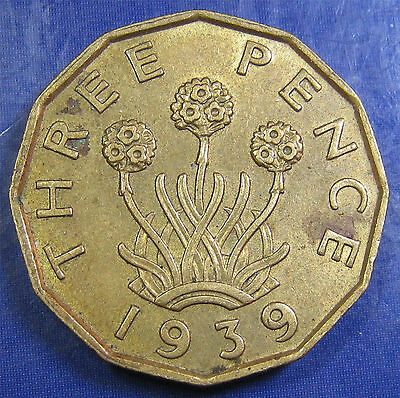 1939 3d George VI NB Threepence in a nice grade