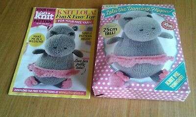 """lola The Dancing Hippo - Knitting Pattern & Yarn Kit From Lets Knit - New"