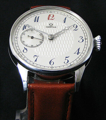 OMEGA Antique 1900's Steel Large Watch Deco Metal Dial