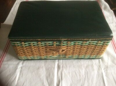 Vintage sewing basket and contents