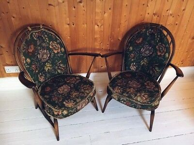 Pair Of Antique Vintage Ercol Nursing Armchairs Chairs