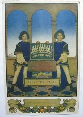 Orig 1918 Community Plate Silver Ad Print Maxfield Parrish Full Page Color Art
