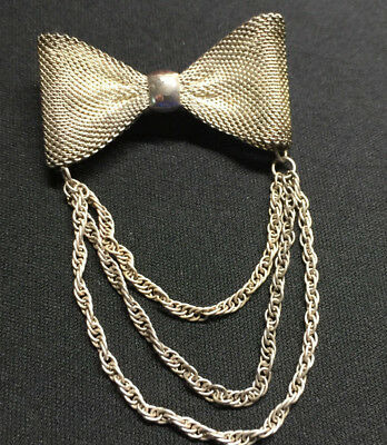 Antique Victorian  Edwardian  Mesh Bow With Dangling Chain Pin/brooch