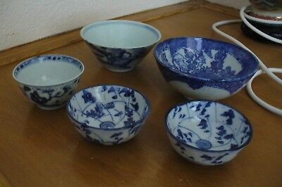 Collection of  Chinese/Orental bowls - Blue & White.