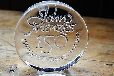 Vintage Dartington Glass John Menzies 150Th Anniversary Paperweight