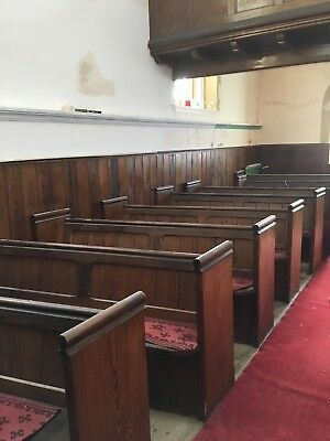 Solid wood, dark brown, pitch pine, antique church pew.