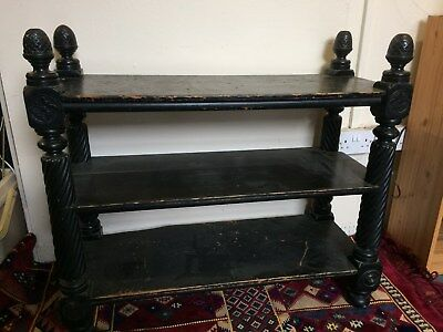 Antique Ebonised Victorian Freestanding Shelf Unit With Carved Acorn Finials