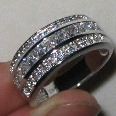 Elvis Presley 1967 Wedding Ring Band Silver with 37 Cut Stones CZ Graceland TCB