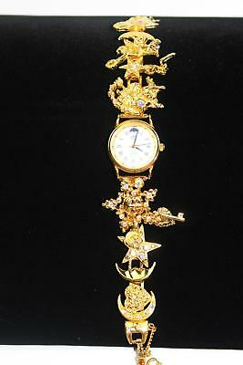 Kirks Folly Crystal Moon Phase Dreamer Watch Gold Tone New Battery