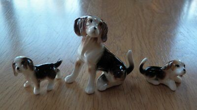 Vintage Set of 3 BEAGLE Dog Puppy Family BONE CHINA Miniature Figurines
