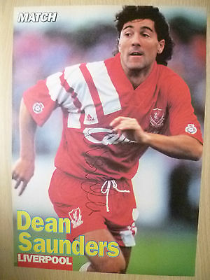 Original Signed Press Cutting- DEAN SAUNDERS at Liverpool FC (apx. A4 )