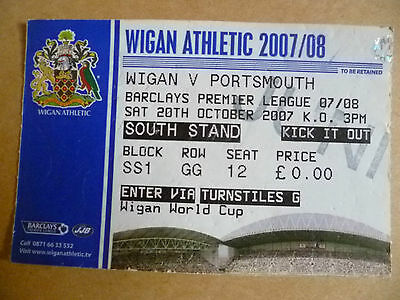 Ticket 2007 WIGAN ATHLETIC v PORTSMOUTH, 20 Oct  (Barclays Premier League).