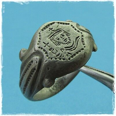 * SAINT with a cross in his HAND *ANCIENT silver BYZANTINE RING !