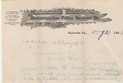 kishacoquillas valley railroad co.pa.letters regarding cattle transit rates,1928