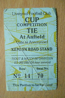 Tickets/ Stubs- Liverpool FC. CUP COMPETITION TIE at Anfield