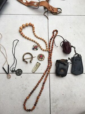 Viking Medieval. Re Enactment Items. Job Lot. Leather Pouches. Brooches.