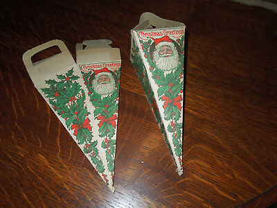 Santa Claus Christmas Greetings Candy Container Paper Beistle Made USA Popcorn