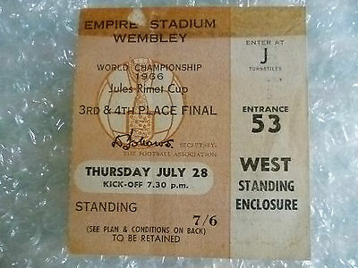 Ticket- 1966 World Cup 3rd & 4th Place FINAL- Portugal v Russia USSR (Genuine*)