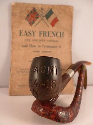 ANTIQUE WW1 engraved Trench Art pipe and Easy French translation booklet c1915