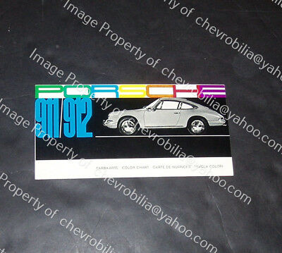 1966 1967 Porsche 911 & 912 Color Chart Original Brochure FARBKARTE Color Chips