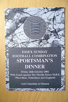 2001 SPORTSMAN'S DINNER MENU- HAND SIGNED by MARTIN PETERS (ORG) 26 October