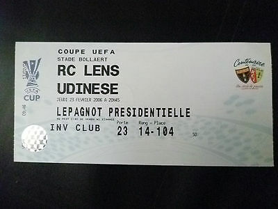 Tickets- 2006 UEFA Cup RC Lens v Uninese, 23 February
