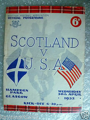 1952 SCOTLAND v USA ; UNITED STATES, 30 April- (Rare & ORG*)