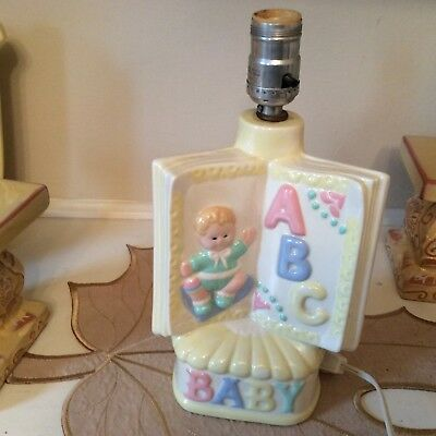 Vintage child's Book shaped ABC Baby lamp ceramic pastels works great