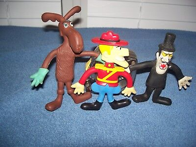 Vintage 1972 Bullwinkle Snidely Wham-O & 1985 Dudley Do-Right Bendable Figures