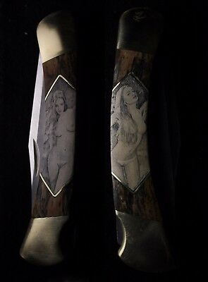 Custom Buck 110 Knife #3 with Mammoth Bark Scales Double Scrimshaw