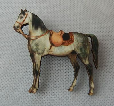 Horse w/ Saddle Brooch or Scarf Pin Accessories Jewelry Fashion Wood NEW Gray