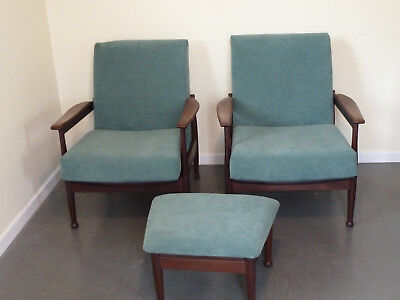 Pair of Manhattan Mid-Century Reclining Armchairs Plus Footstool by Guy Rogers