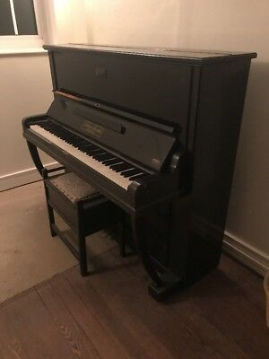 Black Gloss Upright Metal Framed Julius Feurich Leipzig Piano And Stool