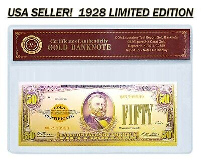 24K .999 Gold 1928 $50 Dollar Gold Cert Banknote with COA (Cert of Authenticity)