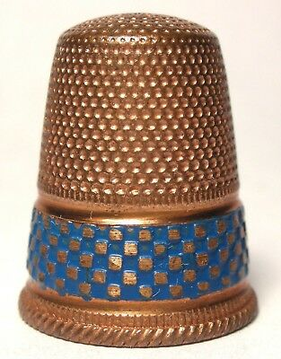 Unusual Copper Thimble with a Blue Enamel Checkerboard Band