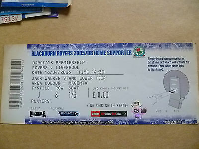 Ticket- 2006 ROVERS v LIVERPOOL, Barclays Premiership , 16 April