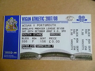 Ticket 2007 WIGAN ATHLETIC v PORTSMOUTH, 20 Oct  (Barclays Premier League)