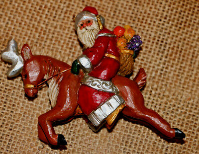 Midwest Cannon Falls Pam SCHIFFERL Santa on Reindeer Ornament Signed