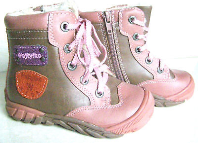 Girls new warm Winter Lace up zip furry inner pink brown walk ankle Boots Size 8