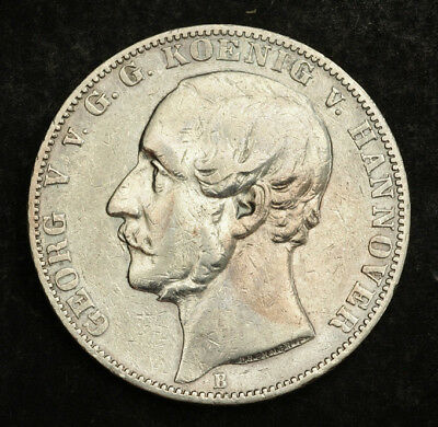 1860, Kingdom of Hannover, George V. Beautiful Silver Thaler Coin. VF+