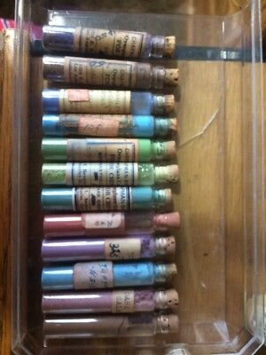 12 Cork Stoppered Glass Vials of Vintage China Paints, Chapman Bailey +