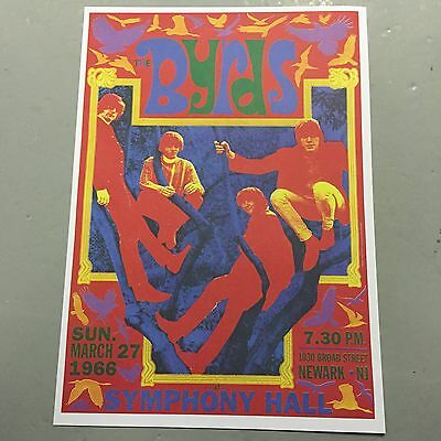 The Byrds - Concert Poster Newark Nj U.s.a. Sunday 27Th March 1966  (A3 Size)