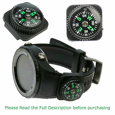 Watch Strap Mini Oil Filled Compass  Button Military Survival Bushcraft Paracord