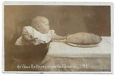 Vintage Photo Postcard - S Dalby-Smith – Baby Reaching For A Pasty – Dated 1911