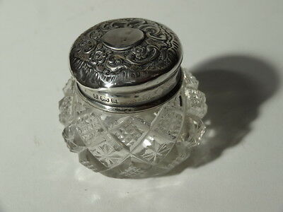 Hallmarked Sterling Silver Top Glass Cream Rouge Vanity Jar Pot Birm 1910 Flower