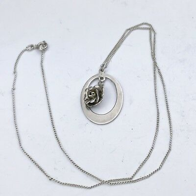 Vintage Solid Silver Danish Flower 925S  Pendant And Necklace Chain