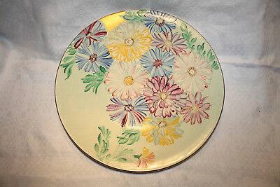 """Scarce 1930s Art Deco GRAYS Pottery Charger Flowers + Gilding Susie Cooper 13.5"""""""