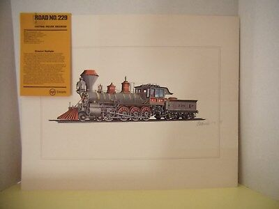 Artist Rendered Color Drawing Of The Original Central Pacific Railroad, Signed