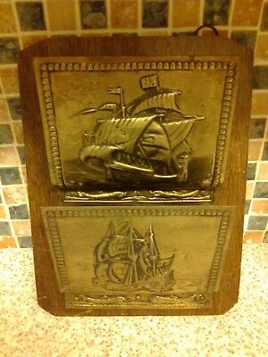 Vintage Wooden Oak Wall Mounted Brass Letter Rack Galleon Design