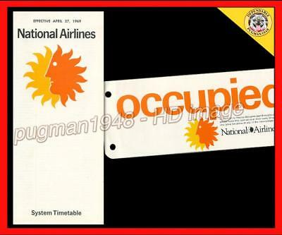 NATIONAL AIRLINES 1969 AIRLINE TIMETABLE SCHEDULE...+ NA  Occupied Seat Card